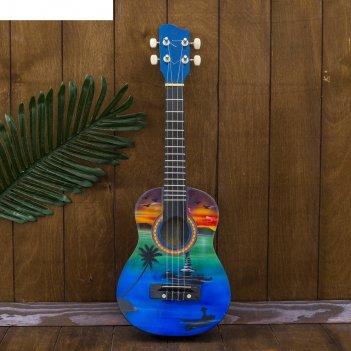 Музыкальный инструмент гитара-укулеле пейзаж мечты 55х20х6 см