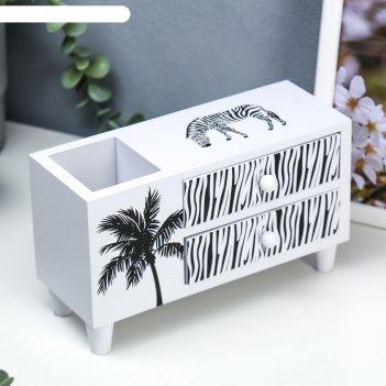 Шкатулка дерево комод 2 ящика+подставка зебра и пальма 13х21х8 см