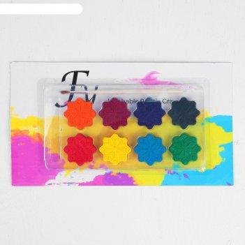 Акварельные карандаши снежинки, 8  цветов, кисть