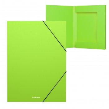 Папка на резинках а4 30мм зеленая, пластиковая erichkrause, neon 47187