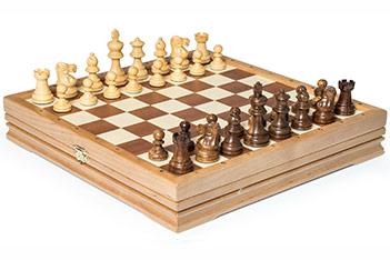 Шахматы классические малые деревянные утяжеленные 32х32см