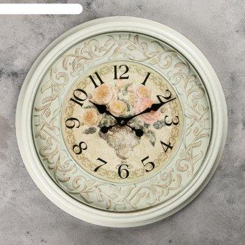 Часы настенные, серия: интерьер, розы,  d=50 см, 1 аа,  плавный ход