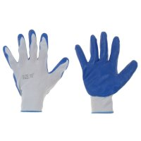 Перчатки нейлоновые с нитриловым покрытием (полуоблив) (9 разм) синие