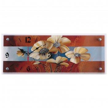 Часы настенные, серия: цветы, цветы, 20х50  см, микс