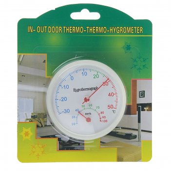 Термометр уличный, гигрометр, d 6,5, белый