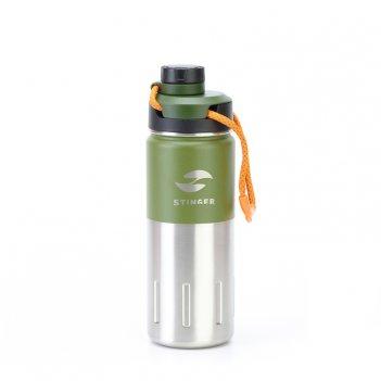 Термобутылка stinger, 0,5 л, сталь/пластик, зеленый мох, 7,5 х 23,1 см