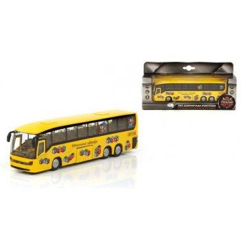 Машина мет. ин. 1:32 автобус школьный, откр.двери, свет, звук