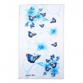 Полотенце этель весна голубой 68*135 см, 100% хлопок, велюр, 400гр/м2