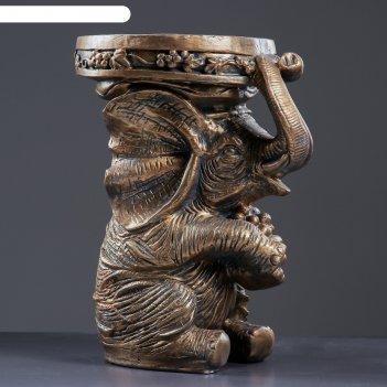 Фигура-подставка слон сидя 34х26х44см, бронза