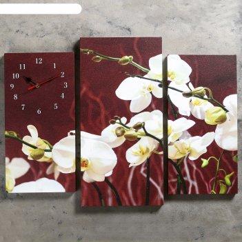 Часы настенные модульные «белые орхидеи», 60 x 80 см