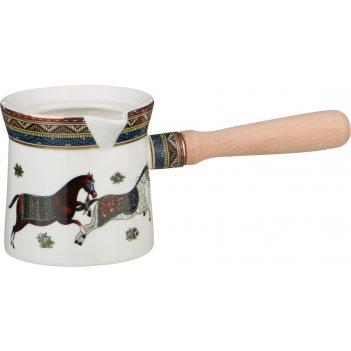 Сосуд турка декоративная 240 мл.лошади