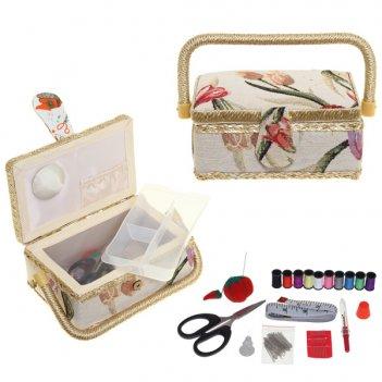 Шкатулка для рукоделия с подносом и набором для шитья, l19 w...