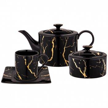 Чайный сервиз lefard fantasy на 6 персон 14пр. черный (кор=3наб.)