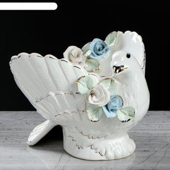 Ваза для конфет голубь лепка, 16 см