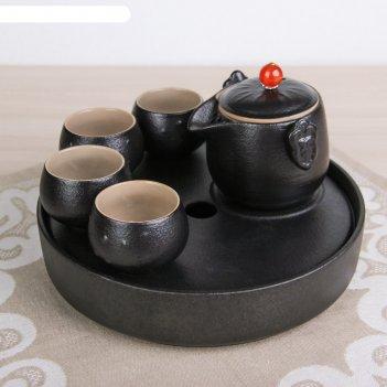 Набор для чайной церемонии 6 предметов ночь чайник, 4 чашки d=6 см, подста