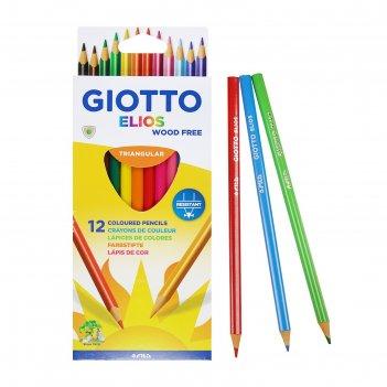 Карандаши 12 цветов giotto elios tri 7.5/3.3 мм, трёхграннные пластиковые