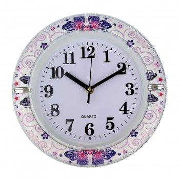 Часы настенные круглые фиолетовые ажурные бабочки 26х4х26 см