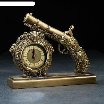 Часы настольные пистолет цвет золото, 25х7х21 см