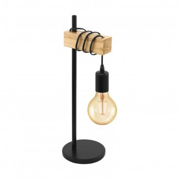Настольная лампа townshend 10вт e27 черный, коричневый