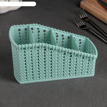 Сушилка для столовых приборов 4 отделения плетение 19,5х8,6х10,6 см, цвета