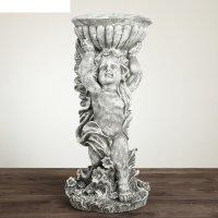 Статуэтка ангел с чашей  большой, под камень , цвет серый
