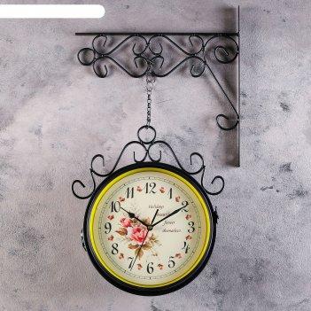 Часы настенные двойные, серия: садовые, плиего, черные , 35х9х53 см, микс