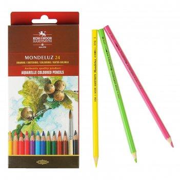 Карандаши цветные акварельные 24 цвета, koh-i-noor mondeluz 3718, картонна
