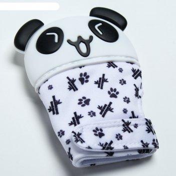 Прорезыватель рукавичка «панда», на липучке