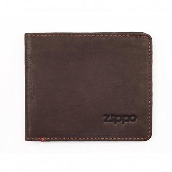 Портмоне zippo, коричневое, натуральная кожа, 11x1,2x10 см