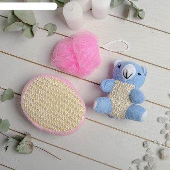 Набор банный 3 предмета (игрушка-мочалка, губка, мочалка), розовый