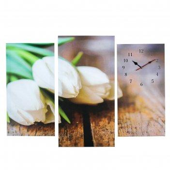 Часы настенные модульные «белые тюльпаны», 60 x 80 см