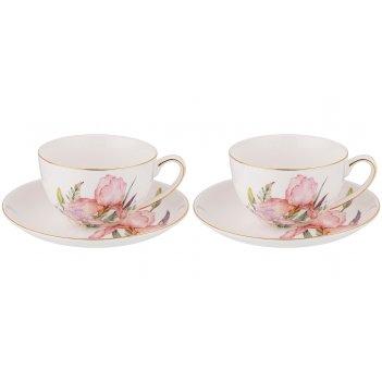 Набор чайных пар на 2 персоны lefard iris 280 мл