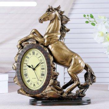 Часы настольные лошадь, цвет золото, 40х31х15 см