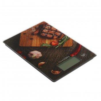 Весы электронные кухонные luazon lvk-705 до 7 кг, стекло, подсветка, стейк