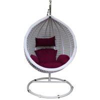 Подвесное кресло-качели на стальной штанге большие, иск. ротанг, белый/бор