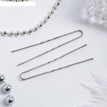 Шпильки для волос хром 6,3 см (набор 10 шт.)