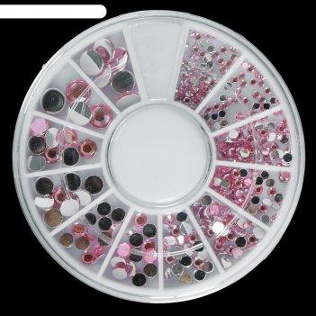 Стразы для декора ногтей, 1,5/2/2,5/3/4/5 мм, цвет розовый