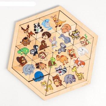 Пазл деревянный «зверюшки» (занимательные треугольники)