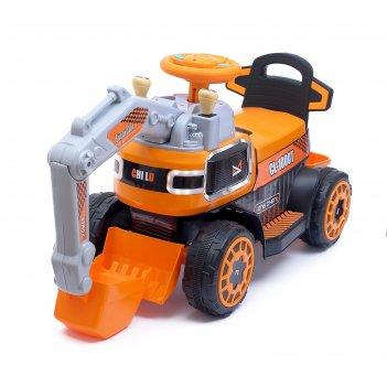 Электромобиль экскаватор, подвижный ковш, свет и звук, цвет оранжевый