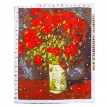 Канва для вышивания с рисунком «ван гог. ваза с красными маками», 47 х 39