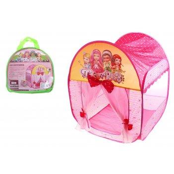 Игровая палатка домик принцессы с занавесками и бантами, цвет розовый
