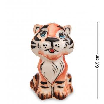 Гл- 36 фигурка тигренок джек цв. (гжельский фарфор)