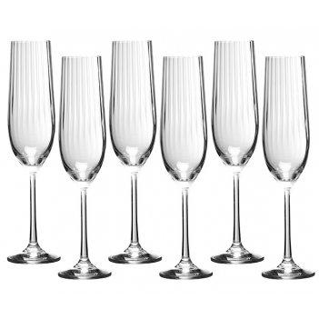 Набор бокалов для шампанского waterfall из 6 шт. 190 мл высота=24 см (кор=