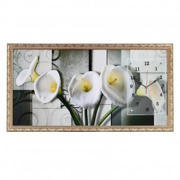 Часы-картина настенные, серия: цветы, белые каллы, микс 50х100 см