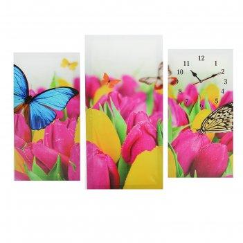 Часы настенные модульные «бабочки и тюльпаны», 60 x 80 см