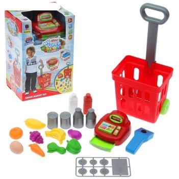 Игровой набор магазинс продуктовой тележкой, кассой со сканером, набором п