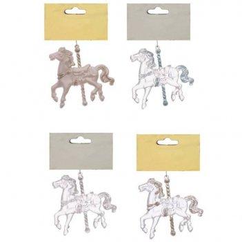 Новогоднее украшение лошадь, н 9,5 см, 4 в.