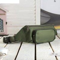 Сумка поясная на молнии, 1 отдел, наружный карман, цвет тёмно-зелёный