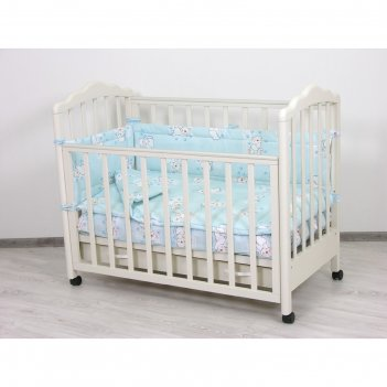 Комплект в кроватку «мишки», 6 предметов, цвет голубой