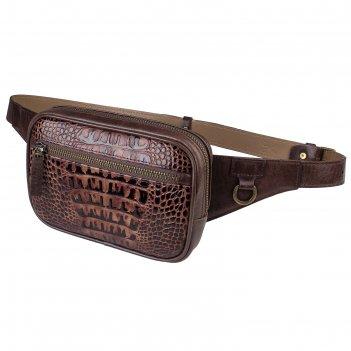 Поясная сумка , 2 отдела на молнии, регулируемый ремень, цвет коричневый